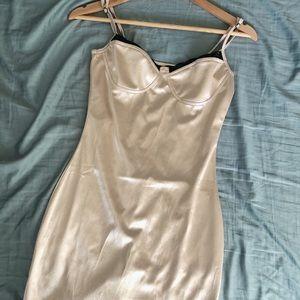 NWOT Gold Vintage Shop Slip Dress, Black Lace Trim